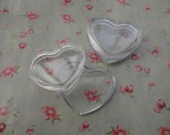 set of 10--mini clear plastic box--heart shape plastic box--plastic jewelry box--42x38x11mm--OC3031-10