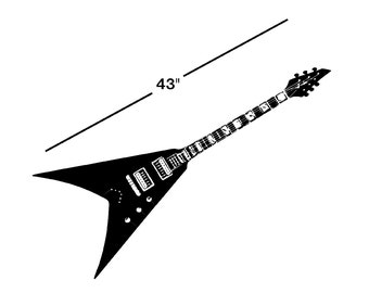 """43"""" Guitar Decal Life Size - sticker flying v wall art car graphics design room decor  AA70.43"""