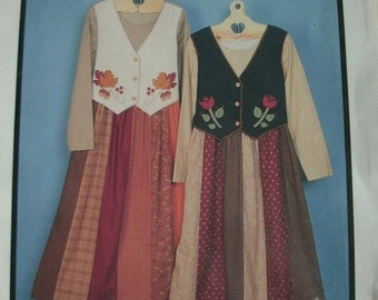 Folkart Vest Dress - Two Dress Designs with Vest Overlay Sizes 6-8-10-12-14-16-18-20 Fabricraft Pattern 360