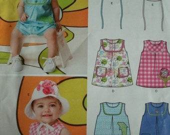 Baby Girl Jumpsuit, Dress and Hat Size Newborn to 24 Pounds New Look by Simplicity 2012 Pattern 6111
