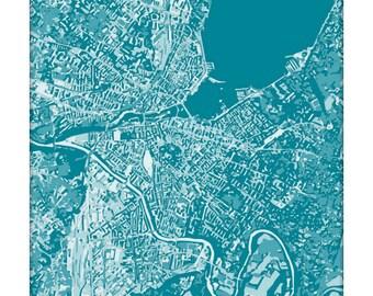 Geneva Cityscape Art Print / Switzerland Graphic Map Art Poster / 8x10 / Choose your Color