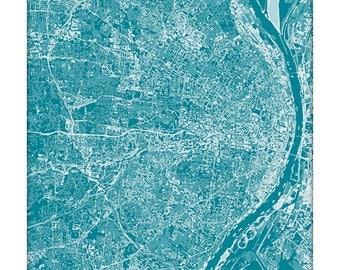 St. Louis Cityscape Map Art / Missouri City Art Print / 8x10 / Choose your Color