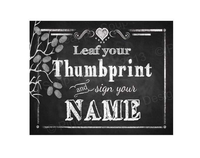 Leaf your thumbprint Wedding Guestbook sign - PRINTABLE instant download digital file - 2 styles -  DIY - Rustic Collection