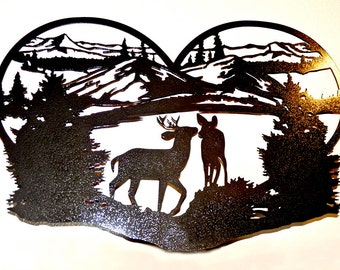 Deer in Love Mountain Scene - Wall Art - Metal Art - Home Decor - Makes a GREAT Anniversary or Valentine gift!