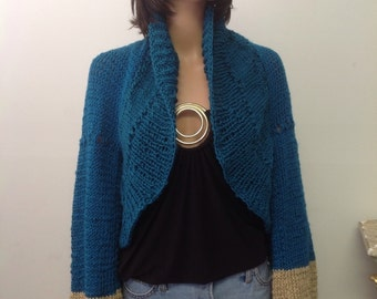 Hand Knit Shrug Sweater Shawl Wrap Scarf Designer Fashion Teal Beige Braid Cabel Stylish Four Seasons