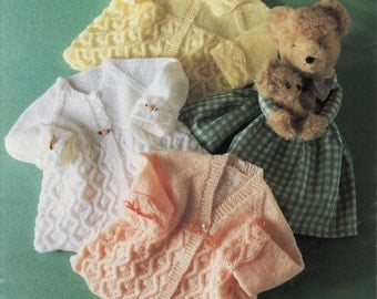 Baby Matinee Jackets 4 Styles in 4 ply  and DK 8 ply for sizes 14 -  18 Inches -  PDF of a Vintage Knitting pattern - N048