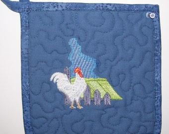 Embroidered Pot Holder  #3 Blue