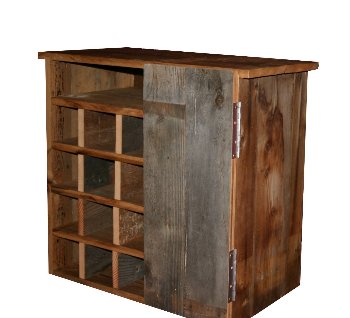 Reclaimed Rustic Barn Wood Wine Storage Cabinet Rack With