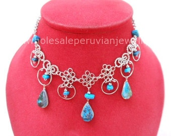 Green Turquoise Teardrops Alpaca Silver Diamonds Inca Necklace Peruvian Jewelry Art - Handmade in Peru