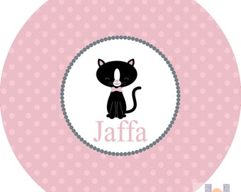 Personalized girls cat and polka dot pink plate! A custom, fun and UNIQUE gift idea! Custom colors available!!