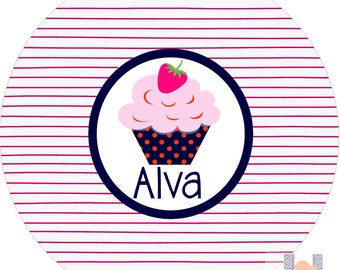 Personalized girls pin stripe cupcake dinner plate! Perfect for birthdays! A custom, fun and UNIQUE gift idea!