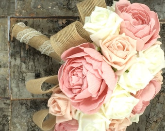 Wedding bouquet shabby chic, rustic, ivory and peach roses with dusky pink peonies. burlap and lace made to order