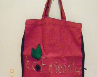 Reusable Bag, tote - Eco Friendly - red and black