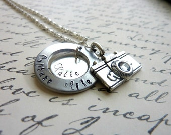 Personalized Camera Necklace Capture Life Hand stamped Photography custom necklace hobby