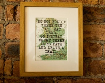 Ralph Waldo Emerson Inspirational Travel Quote Print - Hand-Pulled Screenprint.