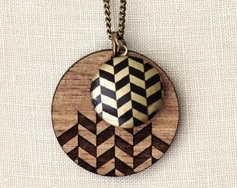 SALE - Herringbone - Geometric Wood Necklace with locket - laser cut
