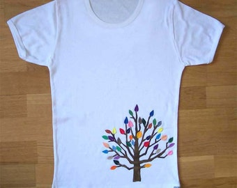 White Felt Tree T-shirt Large
