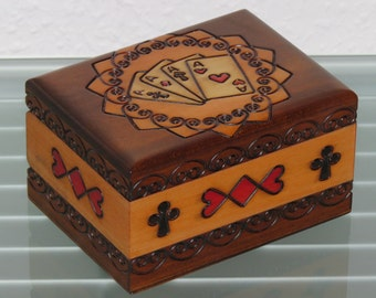 Card box wooden box wooden box wooden box wooden box cassette CASKET Storage Card Poker Skat Rome