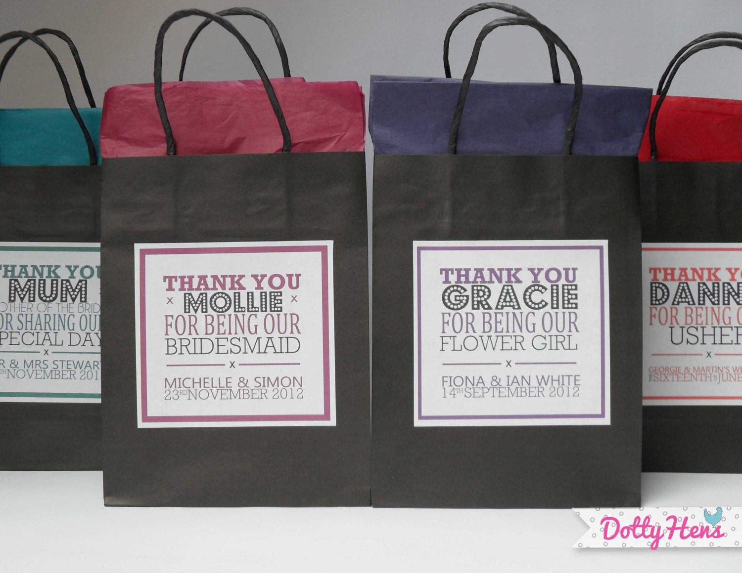 Personalised Wedding Gift Bags Uk : Personalised Wedding Favour Gift Black Bags With by DottyHens