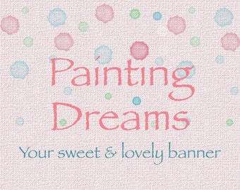Premade pink banner, colorful bubbles, pastel colors, instant download banner