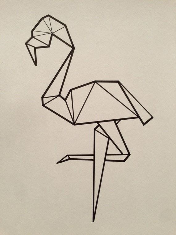 hnliche artikel wie illustrierte geometrische flamingo poster auf etsy. Black Bedroom Furniture Sets. Home Design Ideas