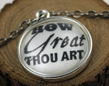 Pendant necklace How great thou art Vintage style Christian Pendant & Chain Hymn Drop
