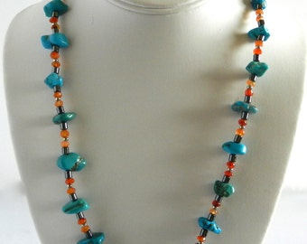 Handcrafted necklace, Silver plated,  turquoise , carnelians, hematite tubes beads,  silk cord.