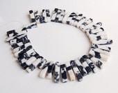 SALE Black & White Zebra Jasper Square Tube Point Beads