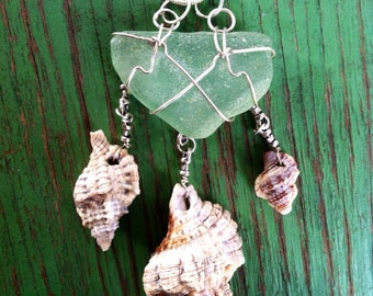 Handmade Sterling Silver Wire Wrapping over Natural Light Green Sea-Glass with Three Nicobar's Tritons Dangling Below