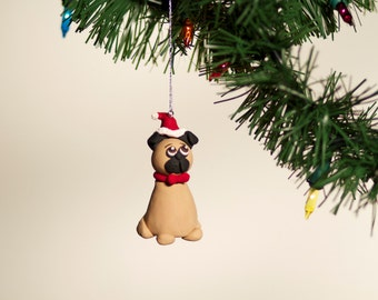 Handmade  Fawn Pug Ornament