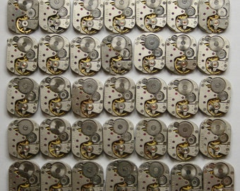 "5/8"" x 1/2"" , Set of 36  Vintage Soviet Watch movements , steampunk parts , cuff links supplies , clockwork movements"