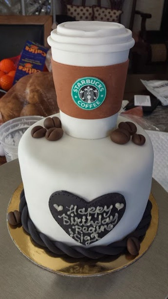 STARBUCKS COFFEE cup cake topper and coffee beans