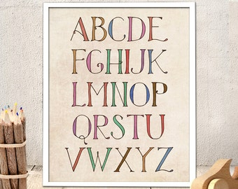 Nursery Printable Alphabet - Nursery Alphabet, Printable art, Typography,  INSTANT DOWNLOAD (78)