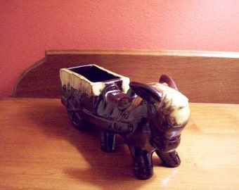 Vintage Pottery Brown and Yellow Drip/Planter  Donkey Made in Japan