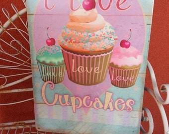 """I Love Cupcakes metal 12x18"""" Bakery, kitchen, colorful  decor"""