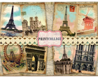 Paris - Digital Collage Sheet Printable Vintage Paper Jewelry Holders Journaling T16