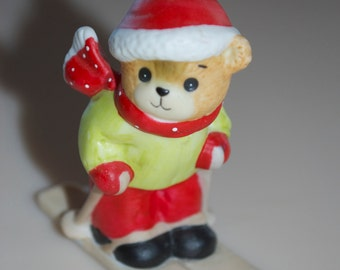 """Lucy Rigg Enesco Teddy Bear Skier Skiing Figurine 1983 Lucy and Me 3"""""""