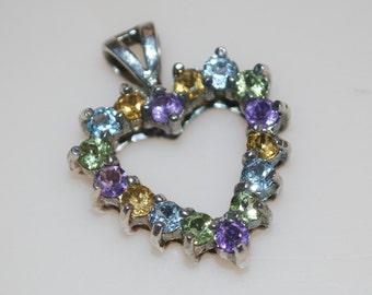 DBJ Heart Pendant Silver & Pastel Green Blue Yellow Purple