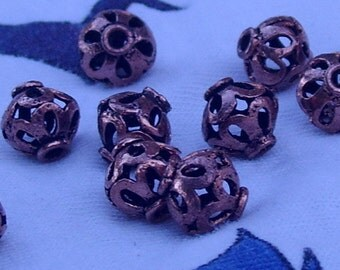 Solid Copper Bead; filigree, 10 mm, 10 per package