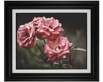 Vintage Pink Flowers Print and Frame