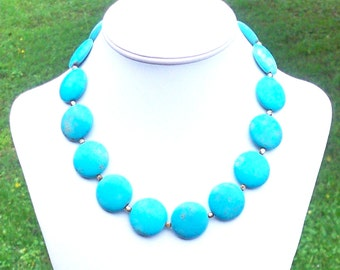 Stacee - Chunky Blue Turquoise 25mm Round Gemstone Coin Beaded Necklace