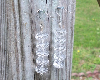 Sirrah - Long Clear Faceted Rondel Beaded Silver Dangle Fish Silver Hook Earrings