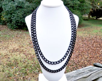 Long Black Metal Chain Necklace - Can Be WORN MULTIPLE WAYS - Double Strand Chain Necklace, Triple Strand, High Fashion, Chunky