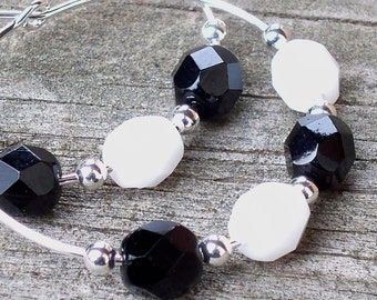 Black and White Earrings Beaded Hoops Earrings Featuring Faceted Czech Glass Beads - 30mm Round Silver Hoop Earrings