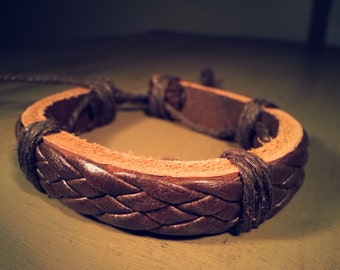 Bangle leather bracelet woven bracelet buckle bracelet women bracelet men bracelet made of leather and ropes wrist bracelet