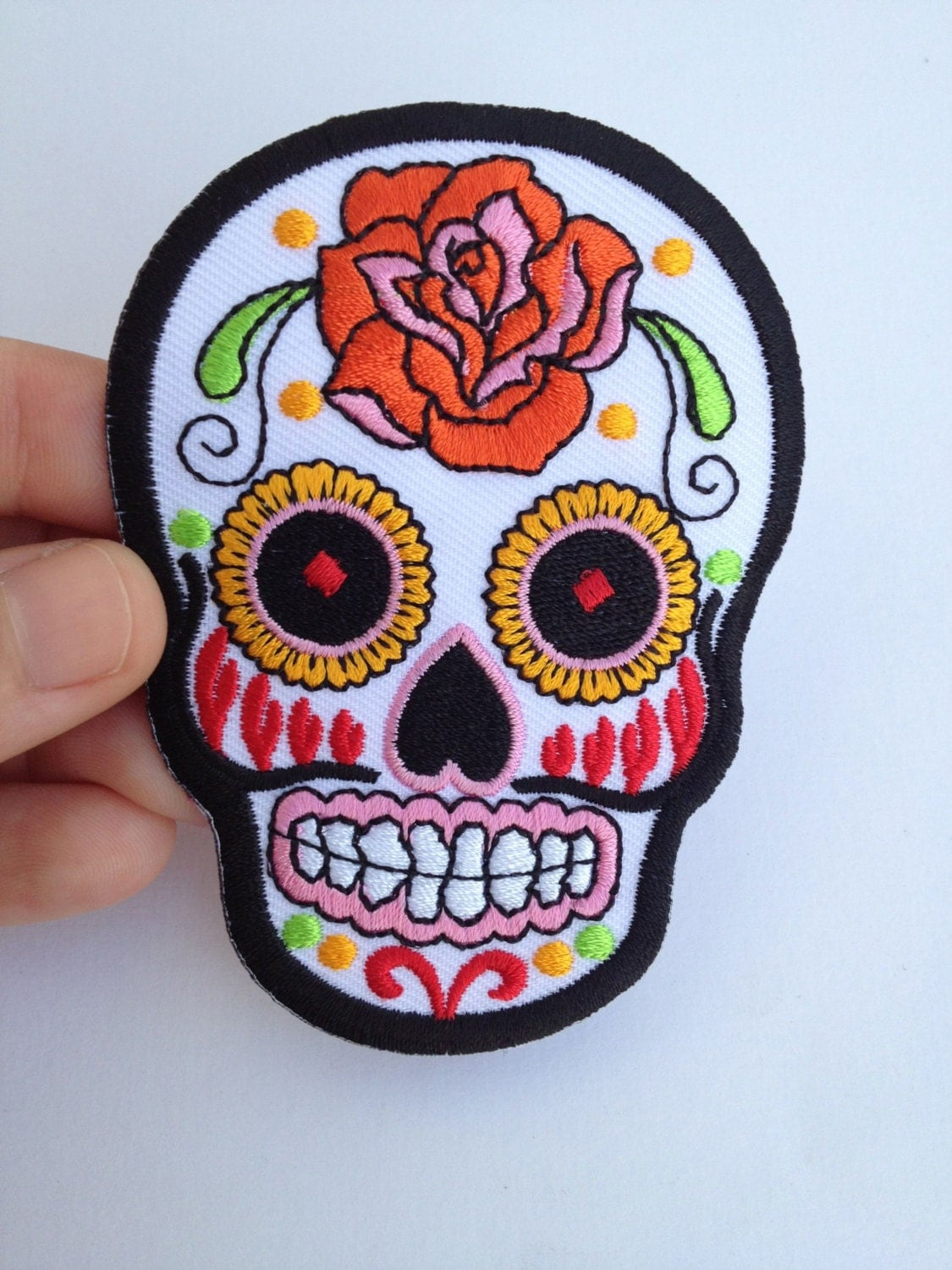Iron-On Sugar Skull Patch by AndamanArts on Etsy