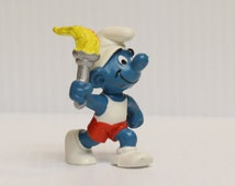 OLYMPIC SMURF, Smurf Torch Bearer, Vintage Pvc Figure, Vintage Schleich Smurf, vintage collectible Smurf, gift for child, gift for collector