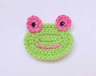 Frog Applique 2pcs - From Cotton Yarn-  Supplies For Clothing, Hair Clips, Handbag