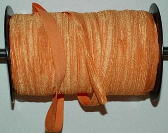 "5 Yards - Fold over Elastic-Shiny 5/8""- Sherbert Orange"