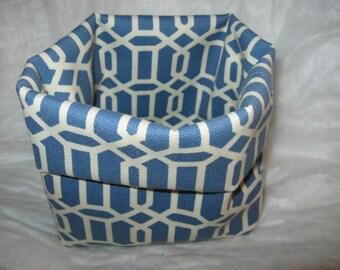 FABRIC ORGANIZER BASKET   7 x 6 x 3 Blue Flexible Storage Box Bag Tote Waste Paper Basket epsteam Desk Office Kitchen Dresser